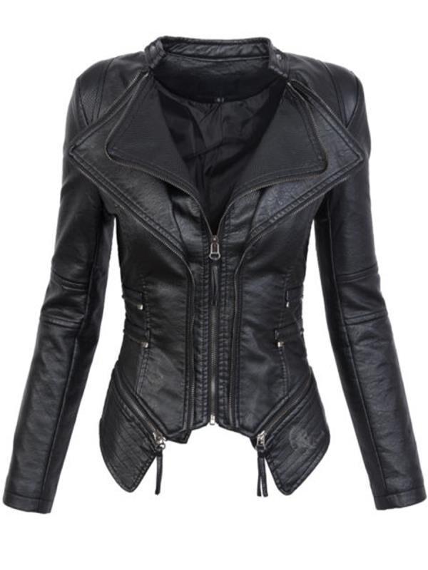 motorcy 2019 Coat HOT Women Winter Autumn Black Fashion Motorcycle Jacket Outerwear faux leather PU Jacket Gothic faux leather c