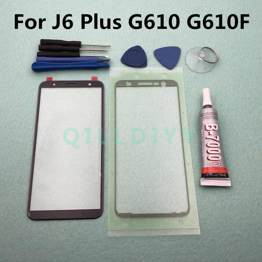 J6 + substituição do painel da tela de toque original para samsung galaxy j6 plus 2018 j610 j610f lente exterior vidro frontal + B-7000 cola ferramenta