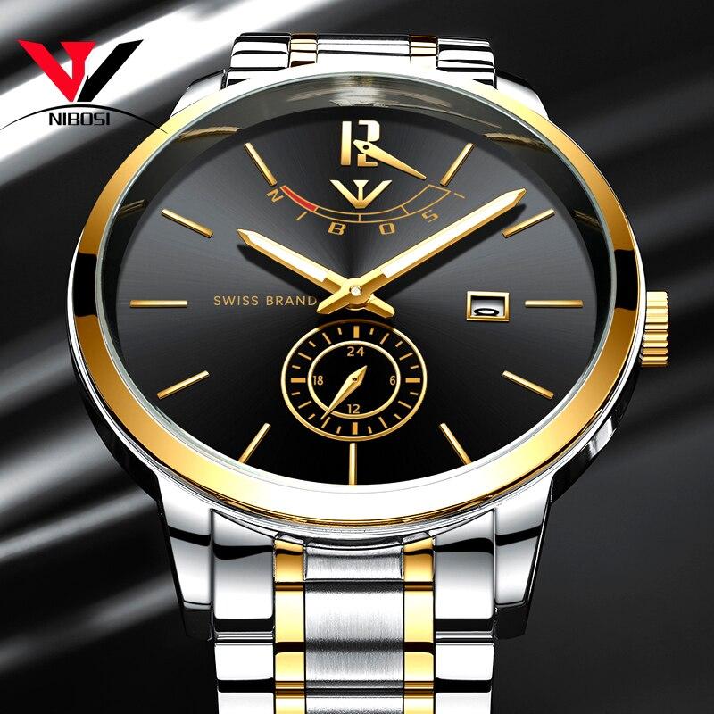 NIBOSI мужские часы 2018 Роскошные брендовые золотые часы мужские водонепроницаемые аналоговые наручные часы мужские часы из нержавеющей стали...