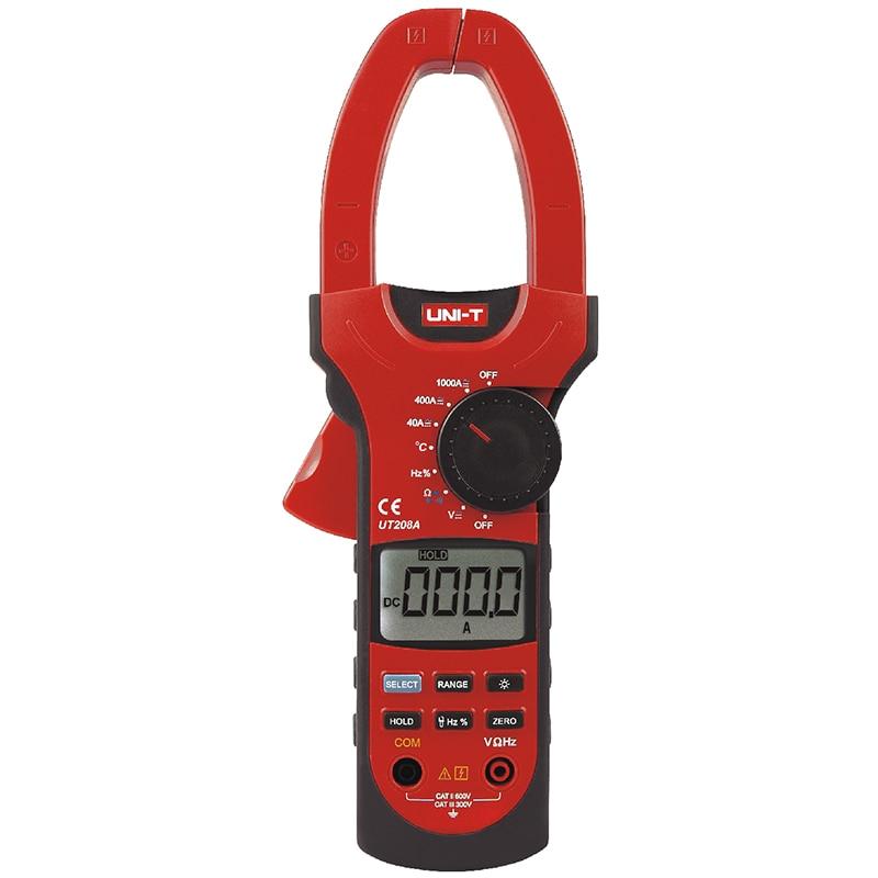 UNI-T UT208A Auto/Manual Range Digitale Zangen-multimeter Kapazität Temperatur Test Amperemeter Voltmeter LCD Hintergrundbeleuchtung