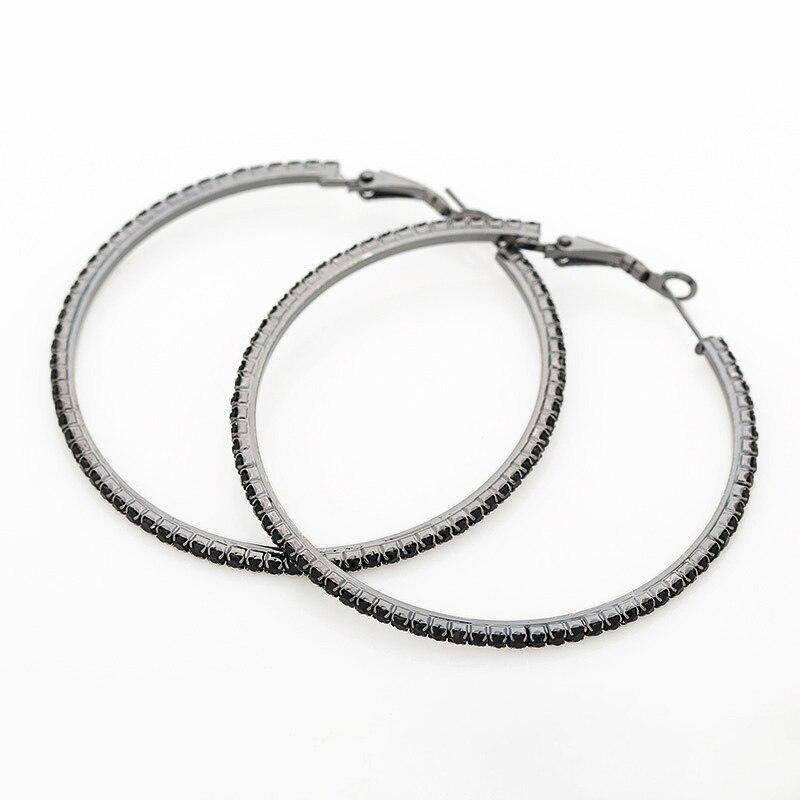Accesorios cool moda negro rhinestone gran círculo pendientes fiesta reina E030