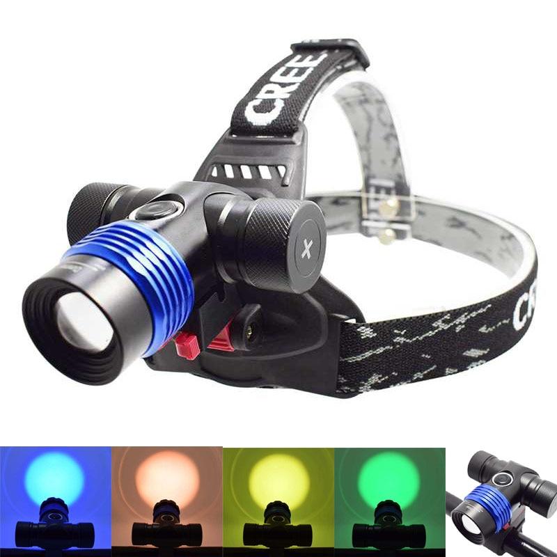 Faro de bicicleta Ultra brillante XML T6 con lente de filtro 2 en 1 Luz de bicicleta con linterna de 18650/AAA