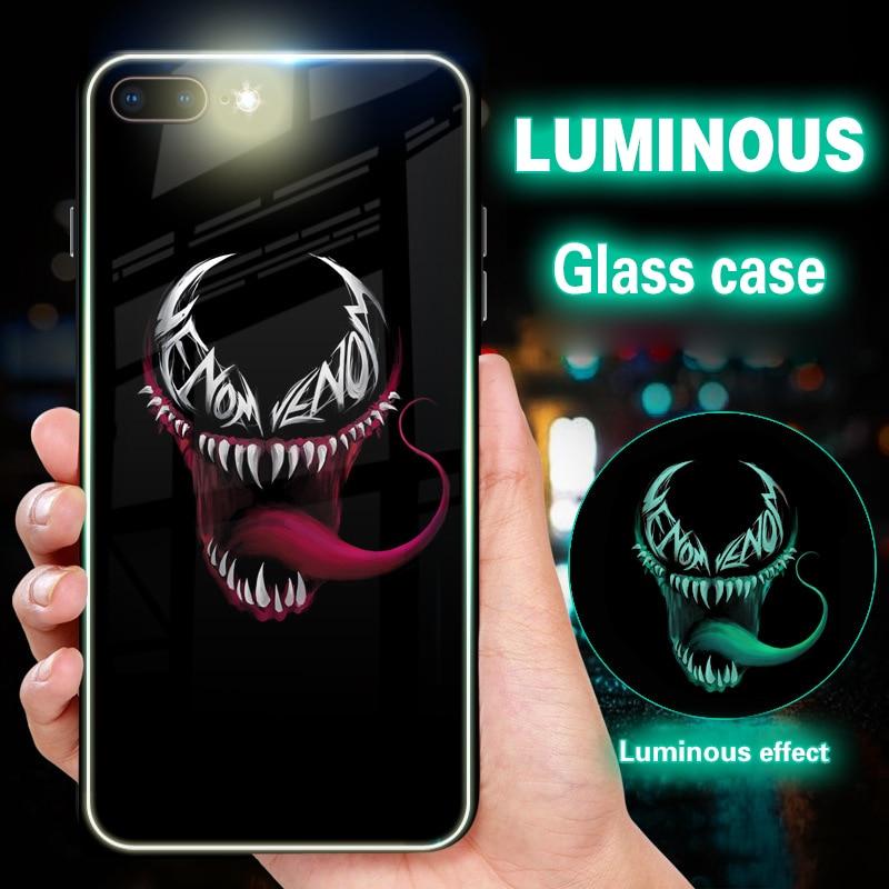Чехол для телефона Marvel Super hero Batman Venom с подсветкой для iPhone 6s 6 8 7 Plus, стеклянный чехол для iPhone XS MAX X XR, оптовая продажа