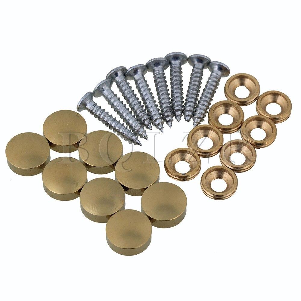 BQLZR 8 Uds 12mm de diámetro dorado Herrajes para muebles tapa de espejo de mesa de cobre con tornillos