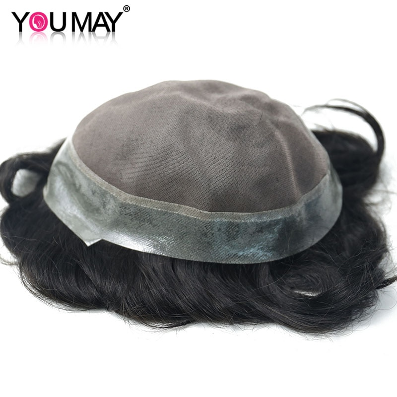 Men's Wig Human Hair Hairpieces Replacement System For Men Toupee Mono Base Wigs 8X10 Color #1B Natutral Looking You May Remy