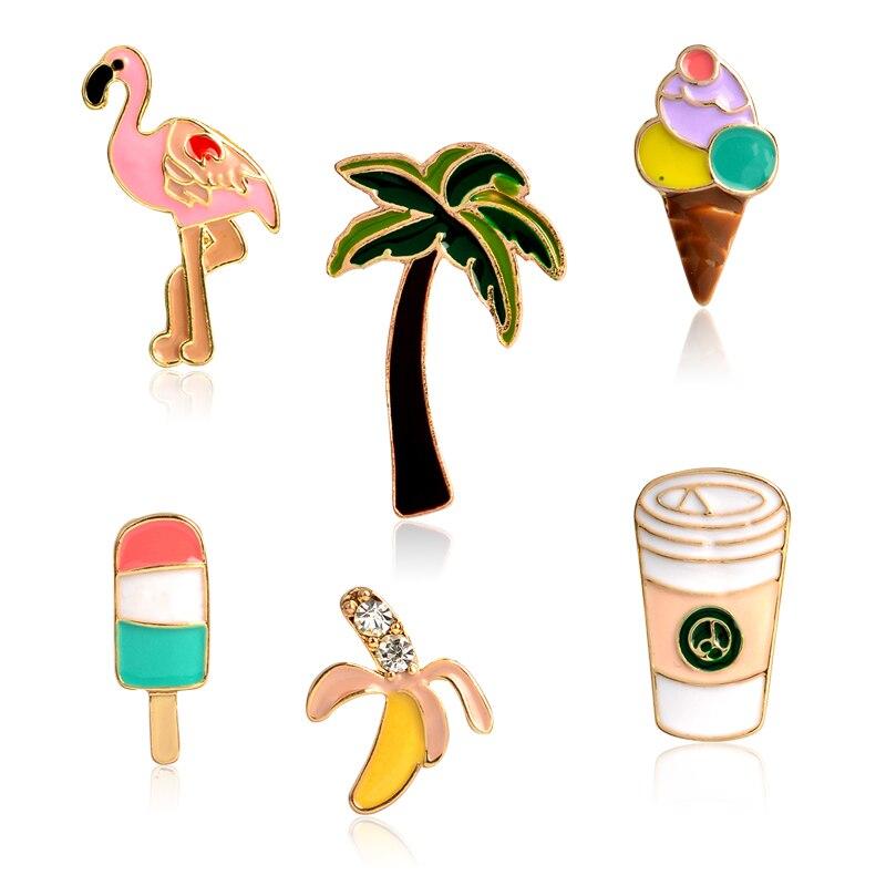 1 шт пальмовое дерево фламинго, мороженое фруктовое мороженое банан кофейные чашки булавки Кнопка животное металлическая брошь сумка Куртк...