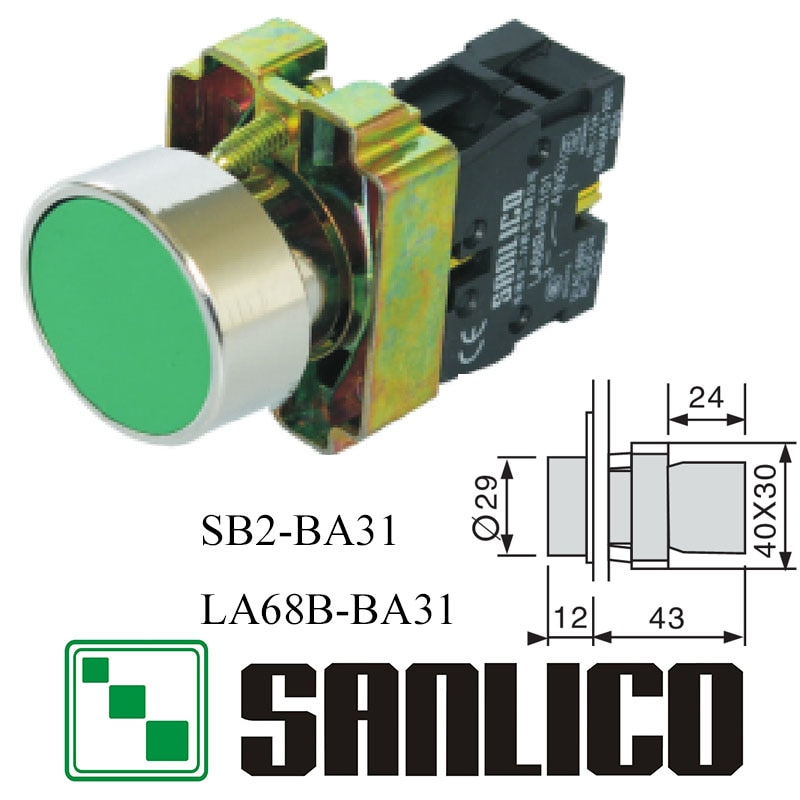 metal push button switch momentary flush head push button swicth SB2(LA68B XB2)-BA31 spring return