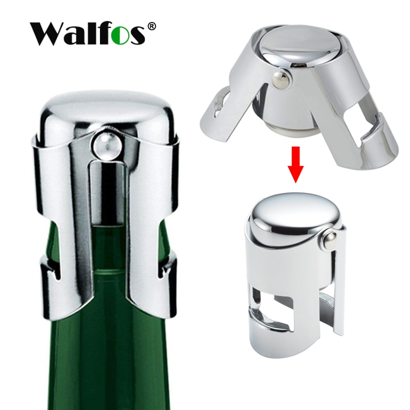 WALFOS 304 Stainless Steel Champagne Cork Portable Sealing Machine Bar Stopper Wine Cork Sparkling Wine Champagne Cap new high quality stainless steel wine stopper portable durable stainless steel wine stopper bar accessories support wholesale