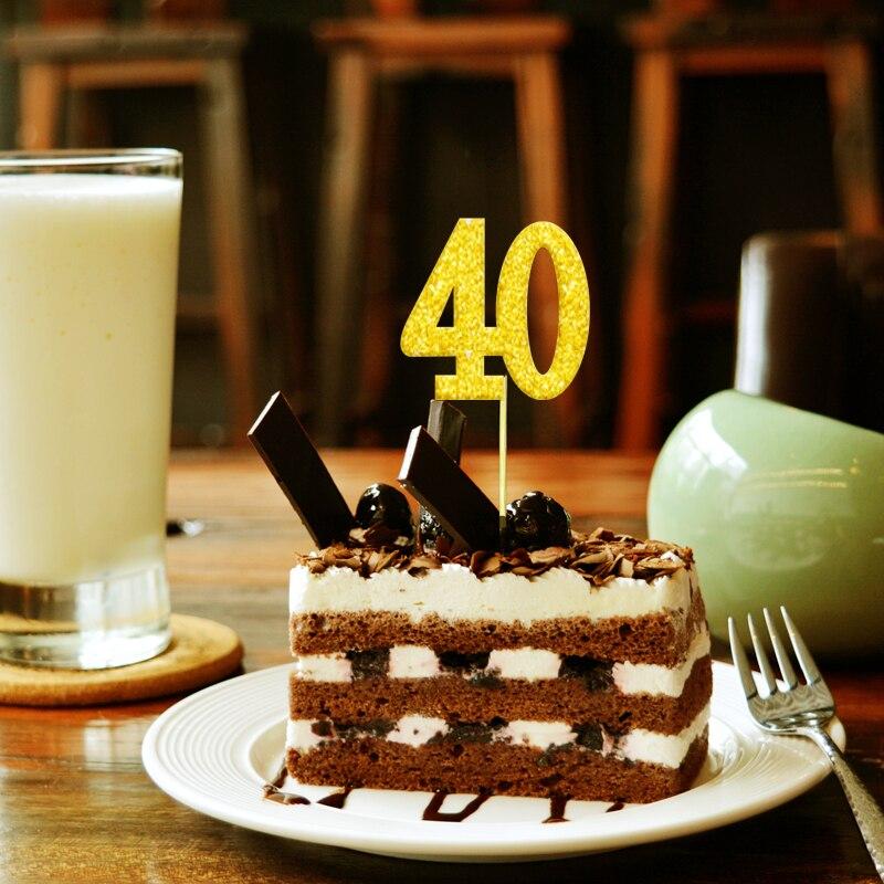 20x Glitter oro plata 40th 40 cumpleaños cuarenta Topper de la torta decoraciones para fiesta de cumpleaños