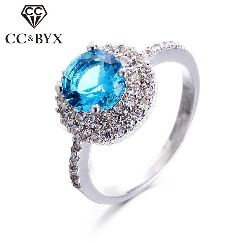Anillo brillante de piedra azul, Anillos de compromiso de color oro blanco para mujer, joyería de boda, Anillos de bisutería CC182