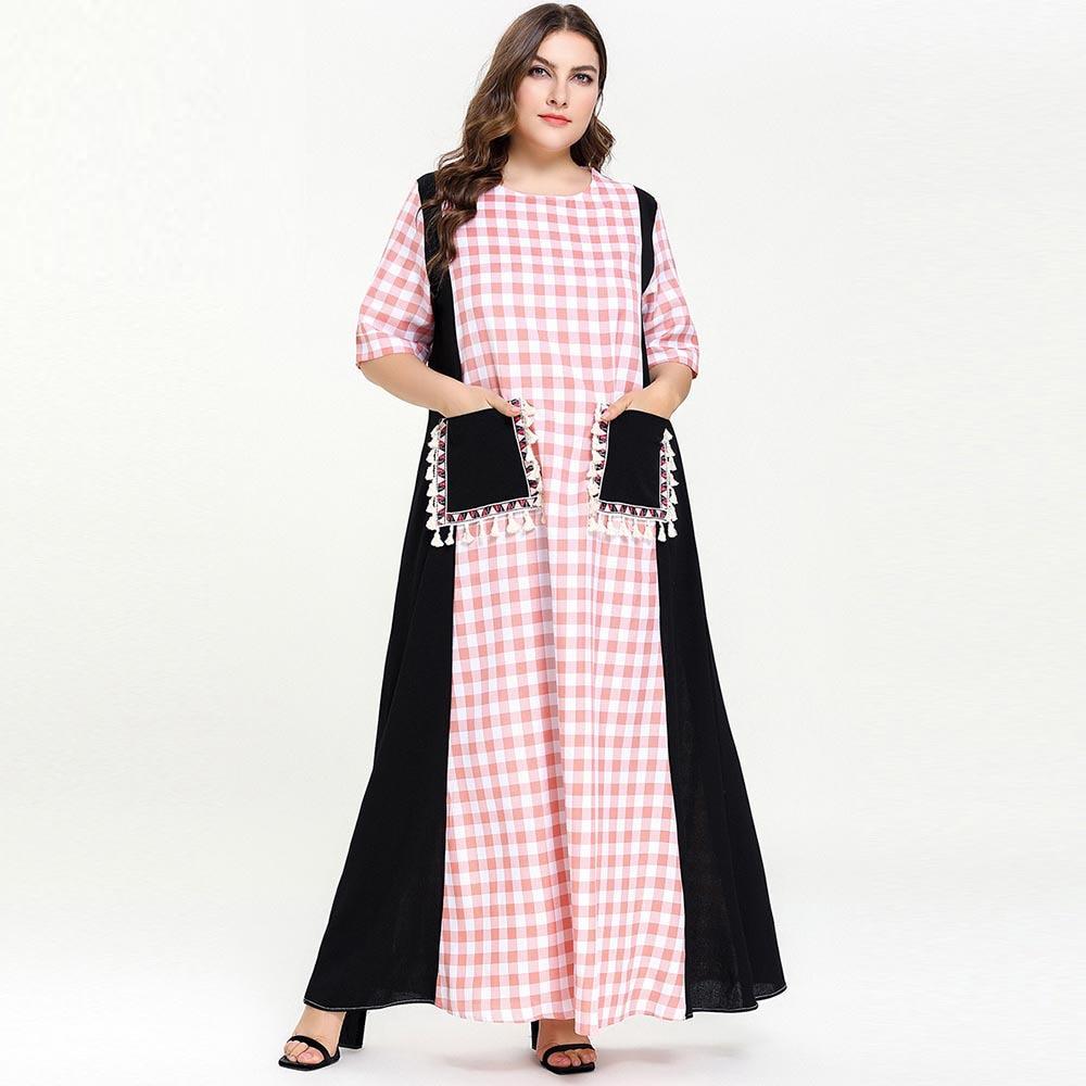 Mulheres verão meia manga vestido muçulmano rosa xadrez preto remendo borlas bolsos solto longo maxi vestidos abaya dubai tamanho grande 4xl