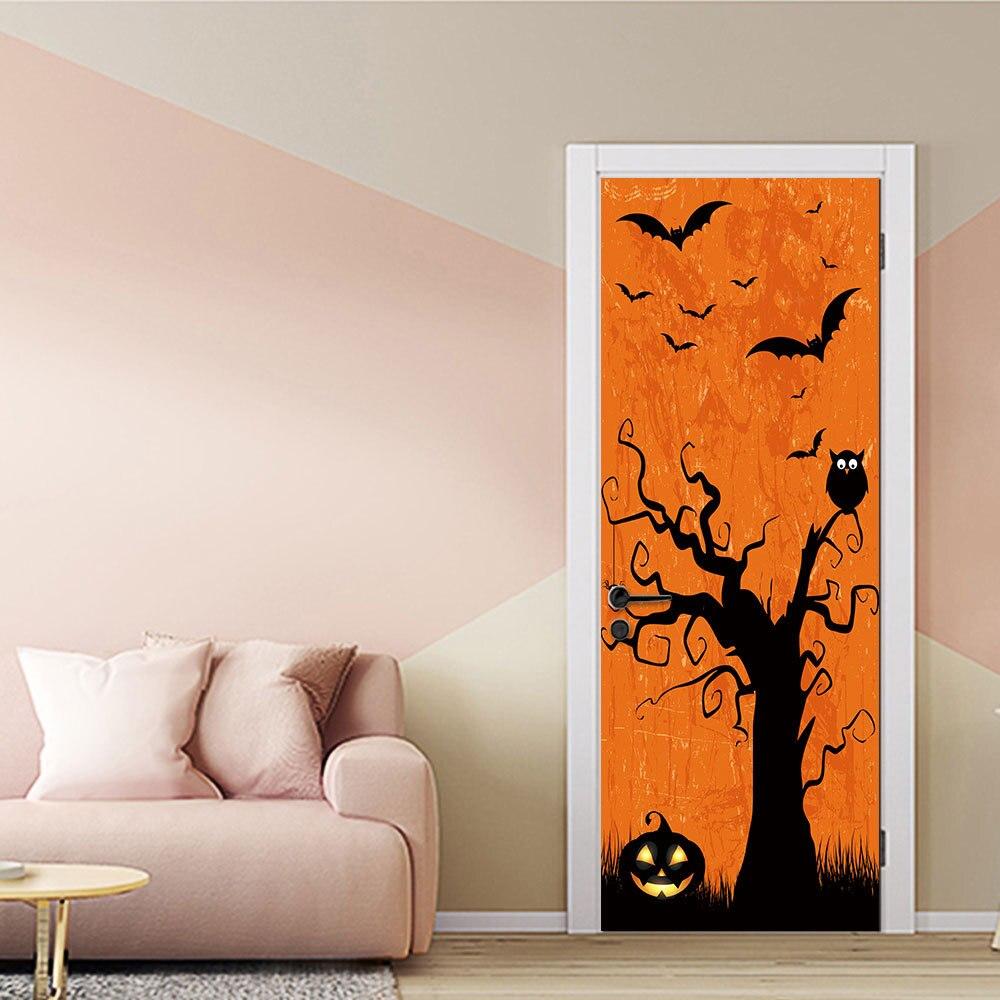 Night Pumpkin Tree Bat Owl 3D Door Stickers Poster Bedroom Removable Waterproof Door Wallpapers Home Decor