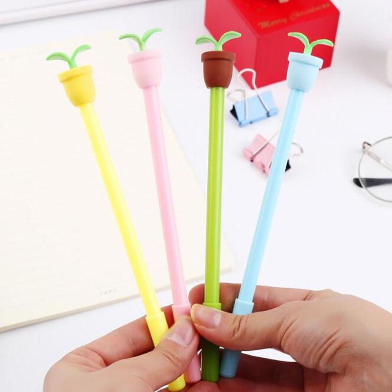 Кавайная ручка, креативная гелевая ручка в горшке, милый инструмент для письма для учеников, 0,5 мм, черная ручка для подписей, офисные и школь...