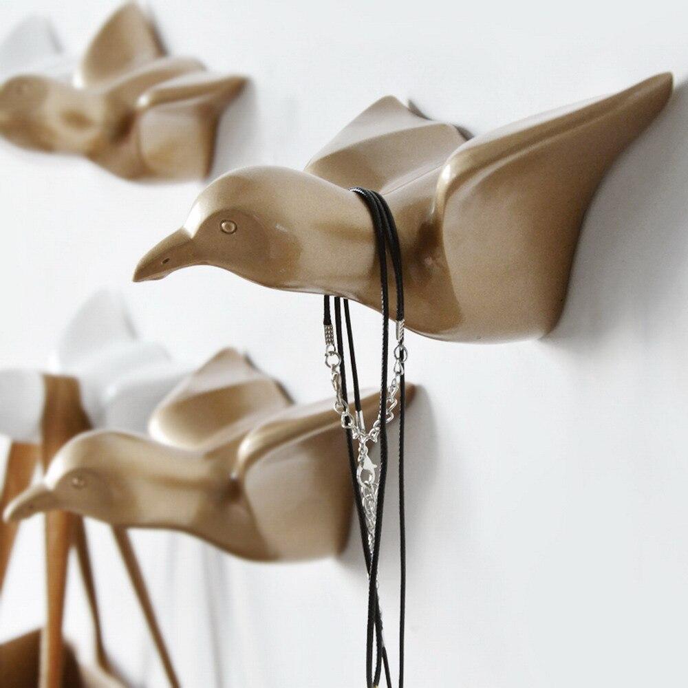 Gancho decorativo de gaviota, gancho de capa de puerta de baño estilo moderno gancho de decoración de resina en forma de gaviota 3D