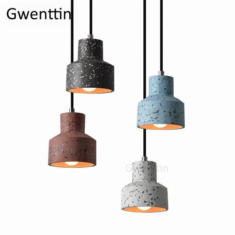 Lámpara colgante de cemento Vintage, lámpara colgante de estilo nórdico, lámpara Industrial para sala de estar, dormitorio, decoración hogareña, luminaria colgante
