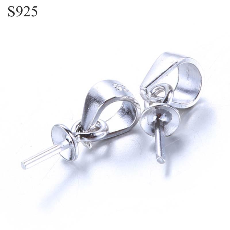 5 pces genuíno real puro sólido 925 sterling plain prata talão boné conectores para pingentes tampão jóias descobertas atacado