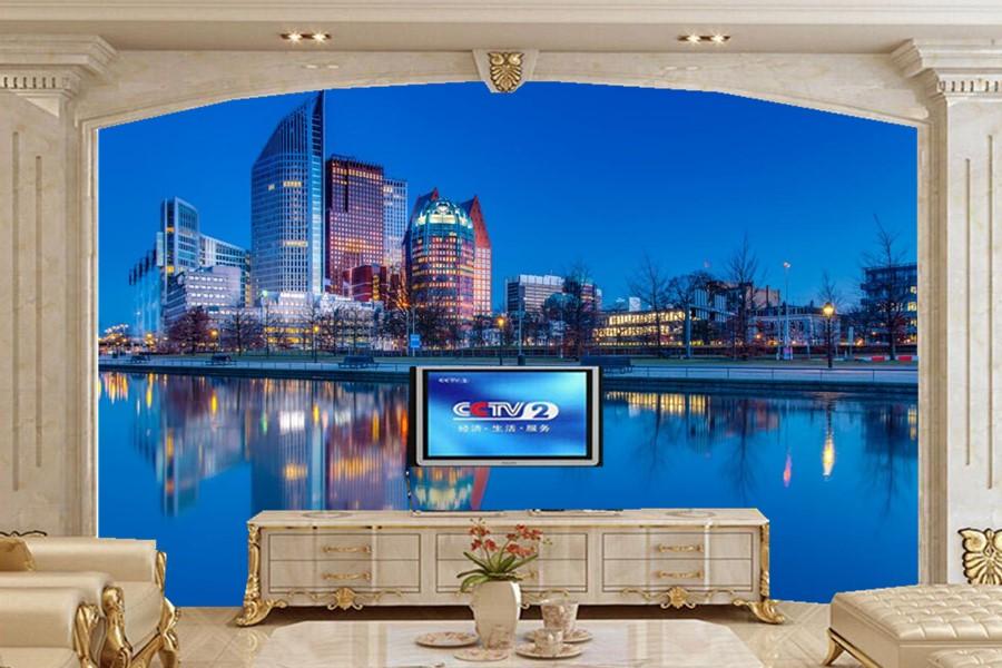 Murales 3D personalizados, casas ríos ciudades nocturnas papel tapiz papel de pared, Sala sofá Pared de TV pared del dormitorio paisaje papel tapiz