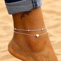 IPARAM Women's Anklet Bohemian Layered Heart Anklet 2020 Summer Beach Anklets On Foot Ankle Bracelets For Women Leg Chain