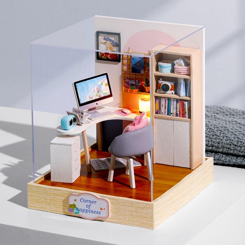 DIY Dollhouse Furniture Miniature Wooden Miniaturas Doll House Box Theatr Toys for Children Birthday Gifts Casa Seed World QT30