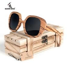 BOBO BIRD-lunettes de soleil pour hommes   Lunettes de soleil originales polarisées surdimensionnées en bois zèbre pour femmes, Steampunk AG001a livraison directe