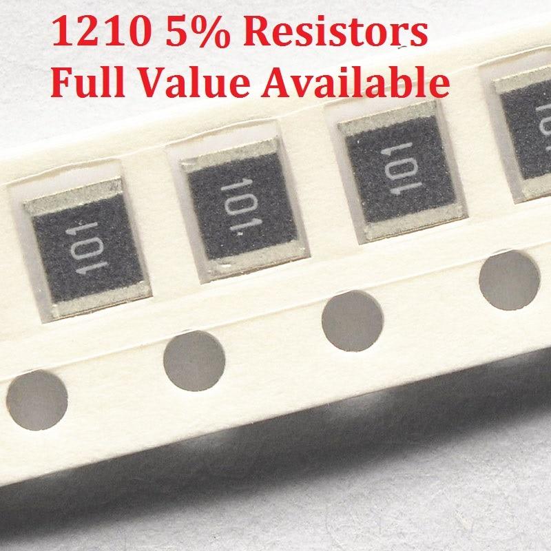 Resistor de chip de 100 smd, pçs/lote 1m/1210 m/1.1m/1.2m/1.3m/1.5m/ohm 5% resistência 1/1.1/1.2/1.3/1. resistores de 5/m 1m1 1m2 1m3 1m5