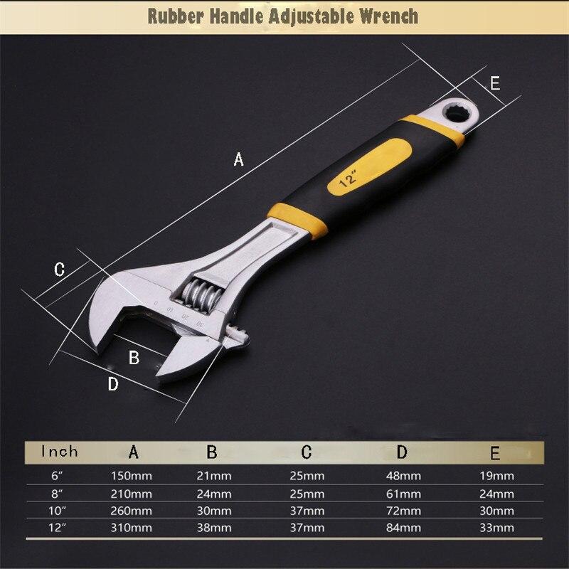"""Llave de grado técnico 8 """"10"""" 12 """"Llave de cambio 150mm 210mm 260mm 310mm Mango antideslizante herramienta de reparación"""