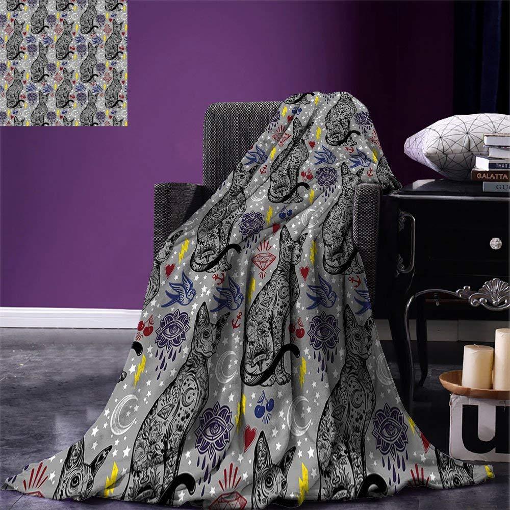 Egípcio Cobertor Do Lance Do Gato Do Vintage Figura com Vários Enfeites Corações Cerejas Olhos Místicos Tema Quente Cobertor De Microfibra