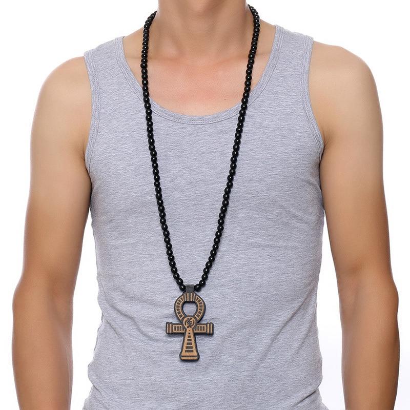 Мужской коричневый деревянный браслет на щиколотке, ожерелье с подвеской 35 дюймов из дерева и бусинами, мужские хип-хоп Египетские украшения для Him Key of the Nile
