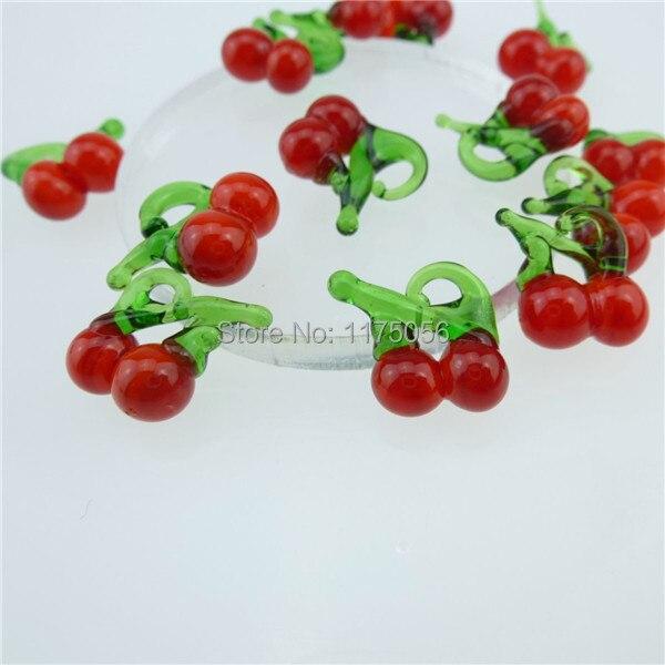 GLOWCAT 13042 20PCS Glass Cute Cherry Pendant Food Charms Jewelry Making