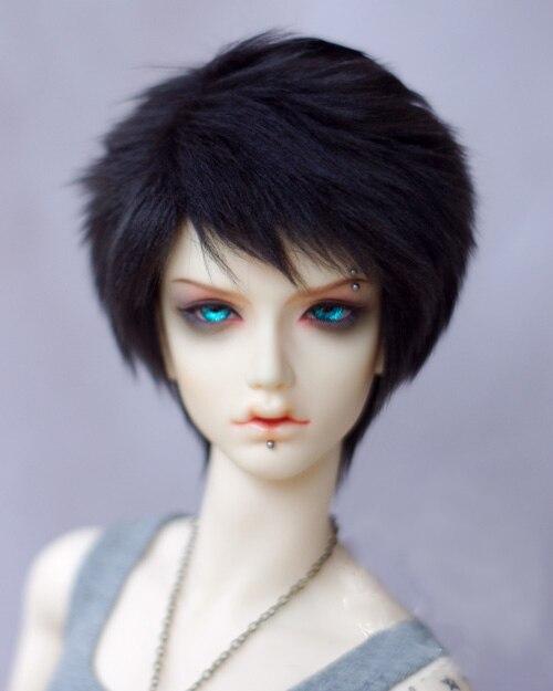 BJD Doll Fur Wig for 1/3 1/4 1/6 BJD DD SD MSD YOSD doll pure black straight fur wigs