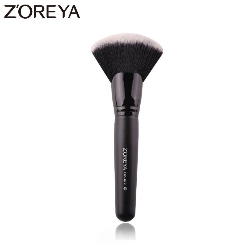 Профессиональная нейлоновая большая Веерная щетка Zoreya, черные кисти для макияжа с деревянной ручкой, косметические инструменты для румян