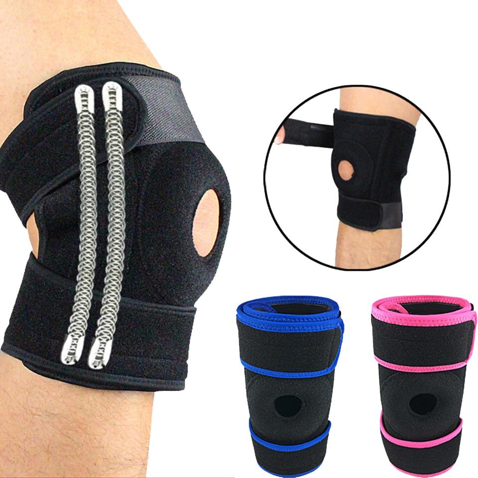 1 Uds. Rodillera ajustable de 4 resortes de apoyo para deportes, rodillera de voleibol de fútbol, para pierna rodillera, Protector de rótula