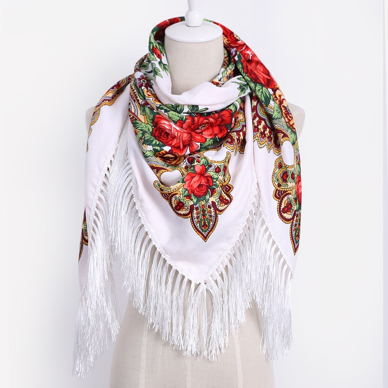 Luxury Brand for Woman Print Scarf Russian Ethnic Style Cotton Flower Pattern Tassel Winter Warm Square Blanket Scarf Shawl art ethnic geometry pattern tassel scarf