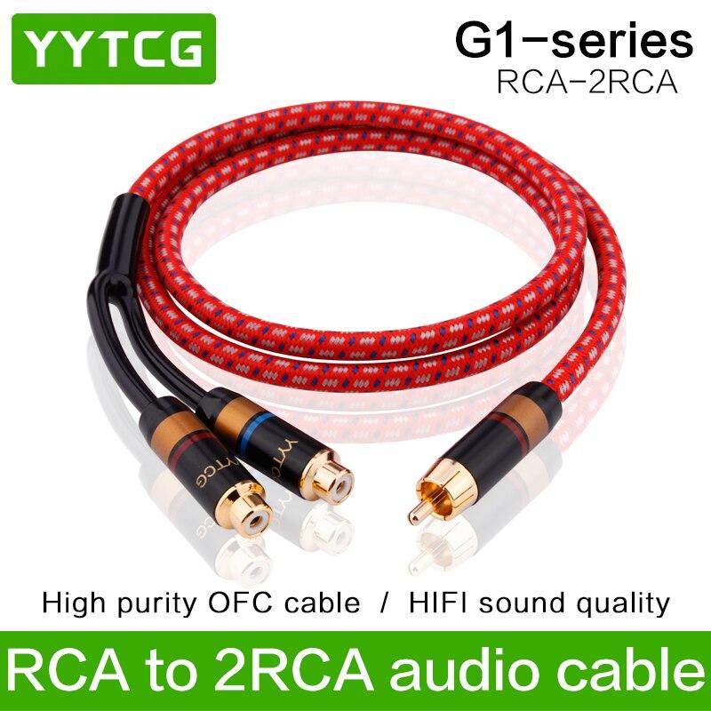 YYTCG HiFi audio cable RCA macho conectores hembra a 2RCA hombre mujer adaptador de enchufe estéreo Audio Cable M/2F