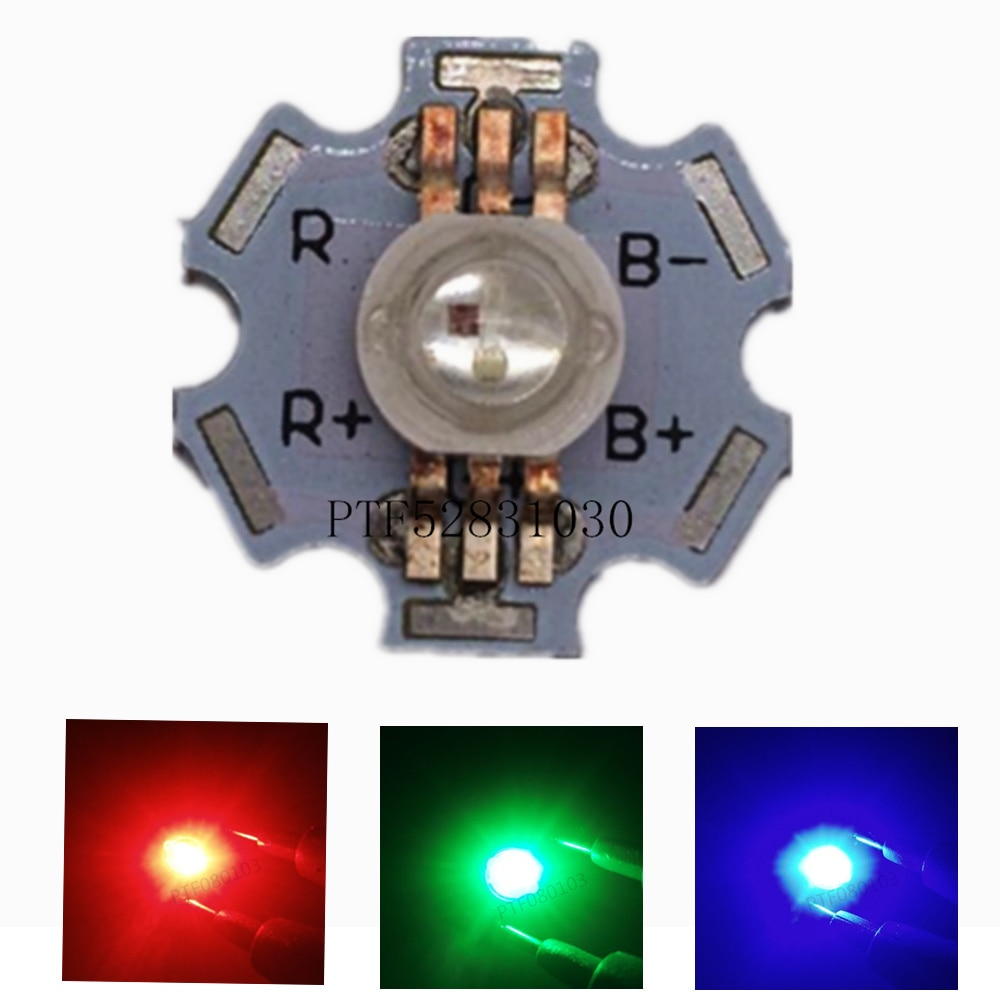 10pcs 3W RGB Color High Power LED Chip Light 6Pins 6pin with 20mm White Aluminum PCB for RGB LED Lamp 10pcs 20 20mm 2m round led channel cable hidden with pendant rope led aluminium profile for 12mm pcb board