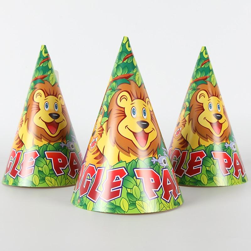 Cartoon Jungle Theme 6pcs/lot Hat Happy Birthday Party Decoration for Kids Birthday Supplies Cap Childer Favor