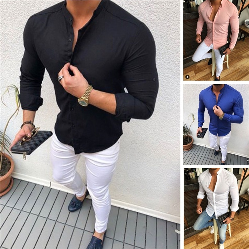 2019 camisas de manga larga de lino de algodón con botones de color sólido para hombres, camisas de negocios informales ajustadas diarias de verano para caballeros, Tops M-XXL