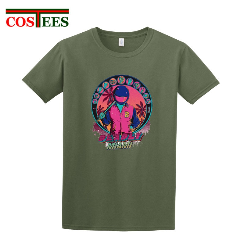 Hotline miami, camiseta para hombre, camisetas de moda 2018, ropa barata, videojuego mortal Miami, camiseta suave de fitness, camisetas