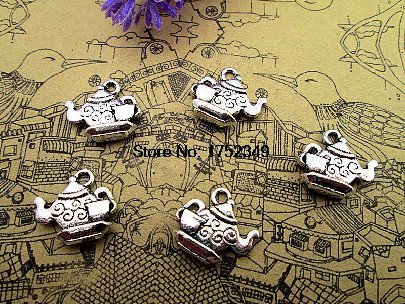 100 piezas-encantos de tetera, amuletos de tetera de plata tibetana antiguos con pequeños encantos de taza de té colgantes de 15mm x 13mm