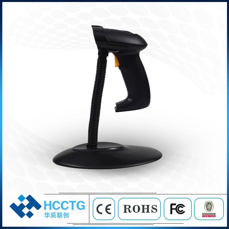 Escáner de código de barras láser de símbolo de inventario POS en línea USB portátil con soporte HS-6100S