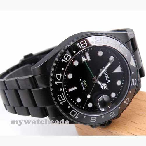 40 мм parnis черный циферблат PVD GMT сапфировое стекло автоматические мужские часы 200