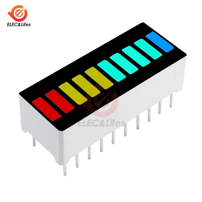 5Pcs DIY LED Light Display Module 10 Segment Bargraph Display Module Bar Graph Ultra Bright Red Yellow Green Blue Multi-color