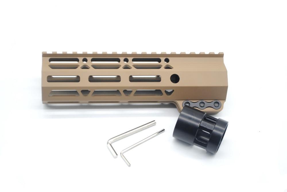 AR15 Tan Printed 7 Inch Free Float Clamping Picatinny Rails M-lok Handguard Fit .223/5.56