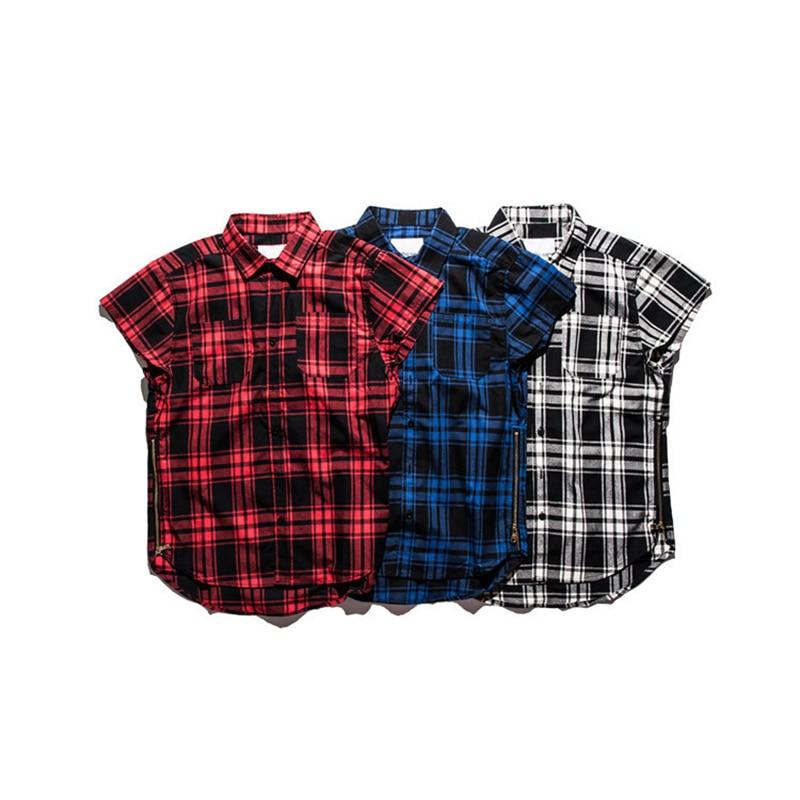 Streetwear oversized cintura zíper xadrez camisa masculina maré multi-color solto colete justin bieber xadrez camisas sem mangas