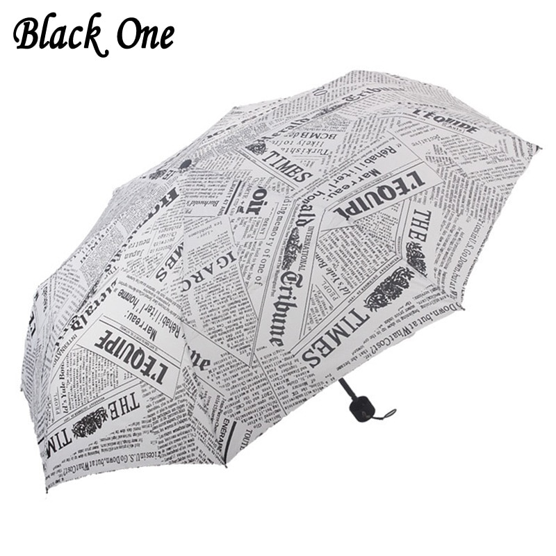 Fashion Folding Newspaper Umbrella Men Rain Women Parasol Sunny and Rainy Waterproof Gifts Small Umbrellas