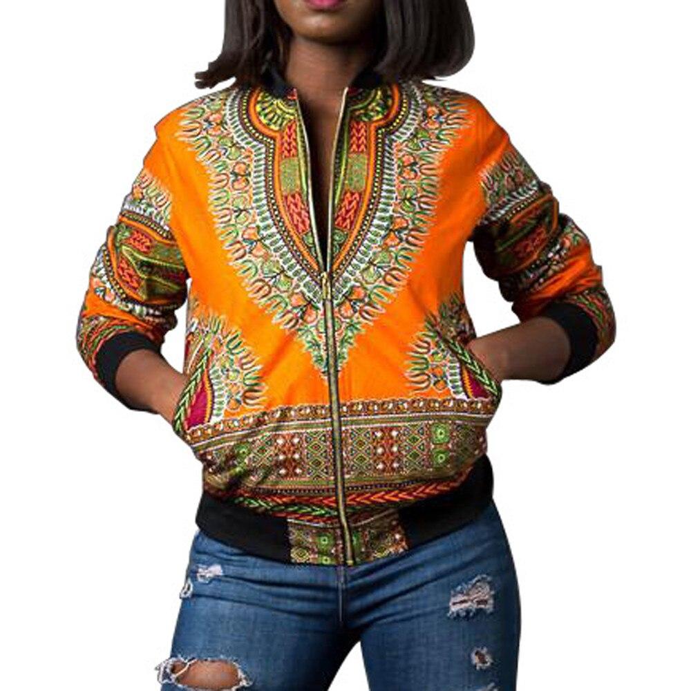 Moda Africana bombardero Dashiki imprimir chaqueta mujer corto Boho Zip bolsillo sudadera Casual recortado abrigo ropa para señoras verde