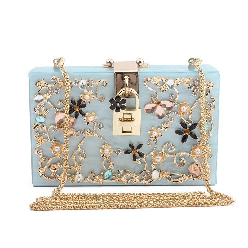 Woman Acrylic Bag Luxury Brand Designer Women Messenger Bags Crystal Dimond Box Shape Female Wedding Party Evening Clutch Purse