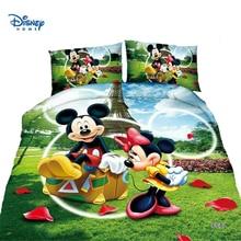 cute Mickey Minnie mouse duvet cover set single twin bed linen girl boy bedding set cartoon Donald Duck kid disney pillow cover