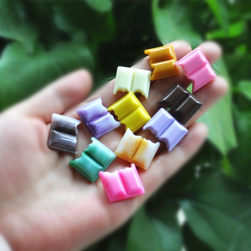 20 pçs resina leite chocolate para diy telefone decoração do cabelo artesanato unhas decoração cores misturadas
