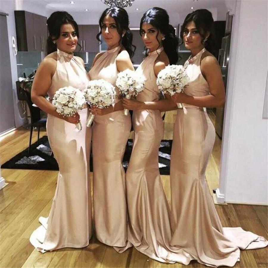 Elegant Satin Mermaid Bridesmaid Dresses 2019 Halter Backless Floor Length Simple Women Wedding Party Dress Custom Made Cheap